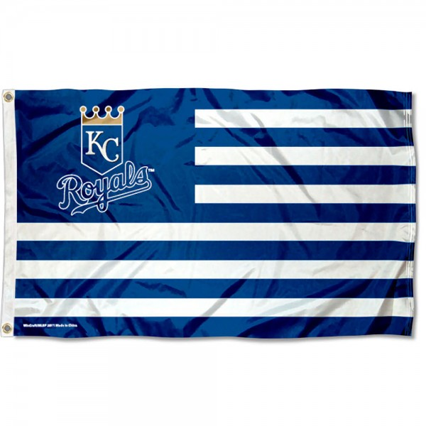 Royals Nation Flag measures 3x5 feet, is made of polyester, offers quad-stitched flyends, has two metal grommets, and is viewable from both sides with a reverse image on the opposite side. Our Royals Nation Flag is Genuine MLB Merchandise.