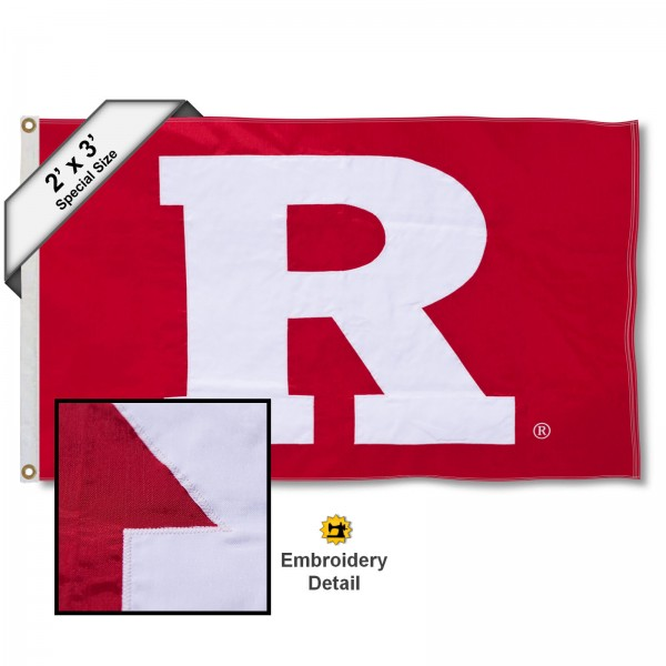 Rutgers Big R Small 2'x3' Flag measures 2x3 feet, is made of 100% nylon, offers quadruple stitched flyends, has two brass grommets, and offers embroidered Rutgers Big R logos, letters, and insignias. Our Rutgers Big R Small 2'x3' Flag is Officially Licensed by the selected university.