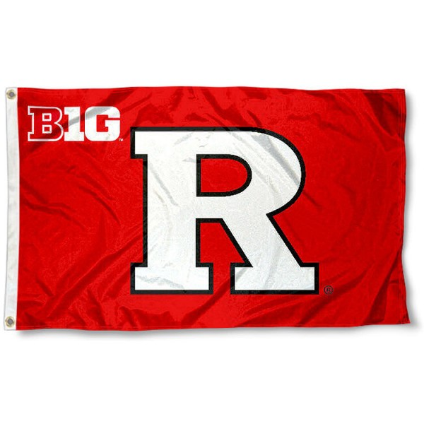 Rutgers Big Ten Flag measures 3'x5', is made of 100% poly, has quadruple stitched sewing, two metal grommets, and has double sided Team University logos. Our Rutgers Big Ten Flag is officially licensed by the selected university and the NCAA.