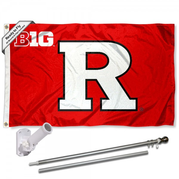 Our Rutgers Scarlet Knights Big Ten Flag Pole and Bracket Kit includes the flag as shown and the recommended flagpole and flag bracket. The flag is made of polyester, has quad-stitched flyends, and the NCAA Licensed team logos are double sided screen printed. The flagpole and bracket are made of rust proof aluminum and includes all hardware so this kit is ready to install and fly.