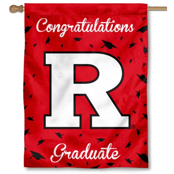 Rutgers Scarlet Knights Congratulations Graduate Flag measures 30x40 inches, is made of poly, has a top hanging sleeve, and offers dye sublimated Rutgers Scarlet Knights logos. This Decorative Rutgers Scarlet Knights Congratulations Graduate House Flag is officially licensed by the NCAA.
