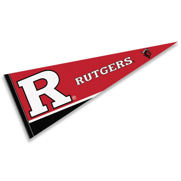 Rutgers Scarlet Knights Decorations consists of our full size pennant which measures 12x30 inches, is constructed of felt, is single sided imprinted, and offers a pennant sleeve for insertion of a pennant stick, if desired. This Rutgers Scarlet Knights Decorations is officially licensed by the selected university and the NCAA