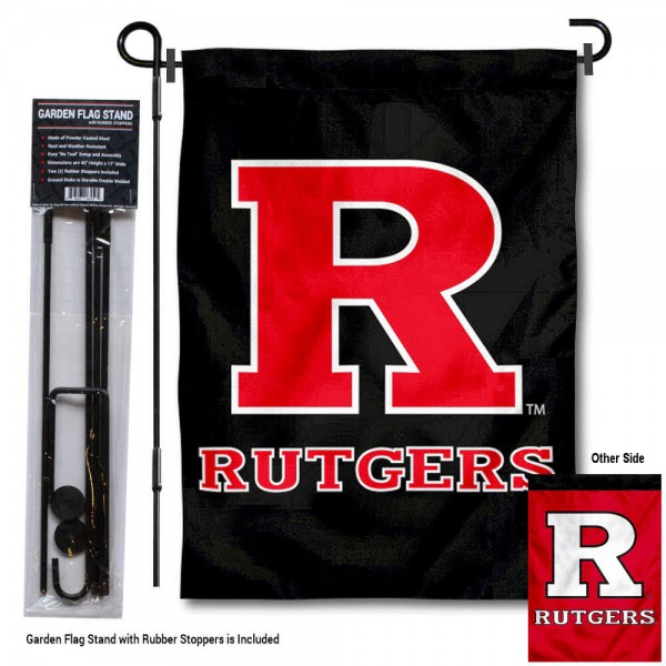 "Rutgers Scarlet Knights Dual Logo Garden Flag and Pole Stand kit includes our 13""x18"" garden banner which is made of 2 ply poly with liner and has screen printed licensed logos. Also, a 40""x17"" inch garden flag stand is included so your Rutgers Scarlet Knights Dual Logo Garden Flag and Pole Stand is ready to be displayed with no tools needed for setup. Fast Overnight Shipping is offered and the flag is Officially Licensed and Approved by the selected team."