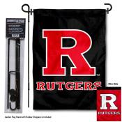 Rutgers Scarlet Knights Dual Logo Garden Flag and Pole Stand