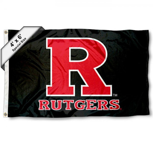 Rutgers Scarlet Knights Large 4x6 Flag measures 4x6 feet, is made thick woven polyester, has quadruple stitched flyends, two metal grommets, and offers screen printed NCAA Rutgers Scarlet Knights Large athletic logos and insignias. Our Rutgers Scarlet Knights Large 4x6 Flag is officially licensed by Rutgers Scarlet Knights and the NCAA.