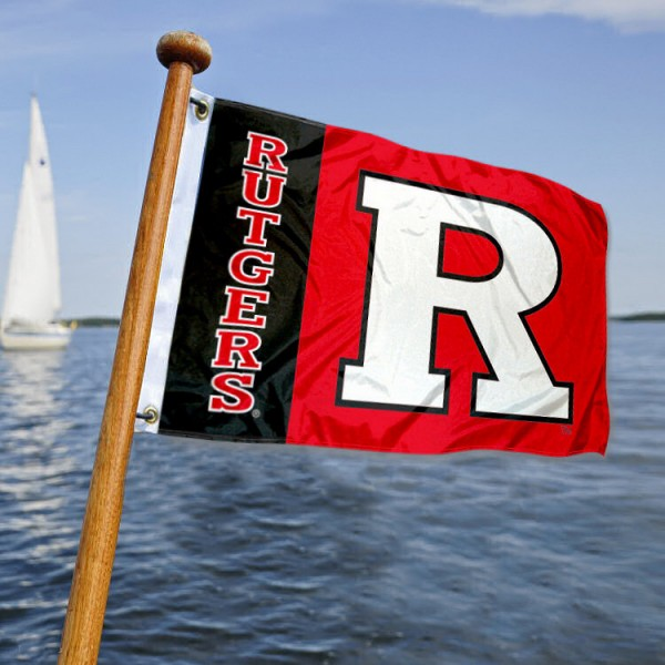 Rutgers Scarlet Knights Nautical Flag measures 12x18 inches, is made of two-ply polyesters, offers quadruple stitched flyends for durability, has two metal grommets, and is viewable from both sides. Our Rutgers Scarlet Knights Nautical Flag is officially licensed by the selected university and the NCAA and can be used as a motorcycle flag, golf cart flag, or ATV flag
