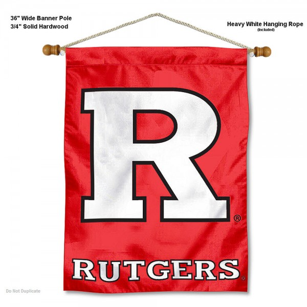 "Rutgers Scarlet Knights Wall Banner is constructed of polyester material, measures a large 30""x40"", offers screen printed athletic logos, and includes a sturdy 3/4"" diameter and 36"" wide banner pole and hanging cord. Our Rutgers Scarlet Knights Wall Banner is Officially Licensed by the selected college and NCAA."