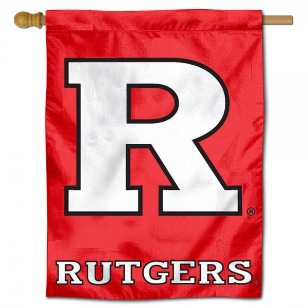 "Rutgers University Decorative Flag is constructed of polyester material, is a vertical house flag, measures 30""x40"", offers screen printed athletic insignias, and has a top pole sleeve to hang vertically. Our Rutgers University Decorative Flag is Officially Licensed by Rutgers University and NCAA."