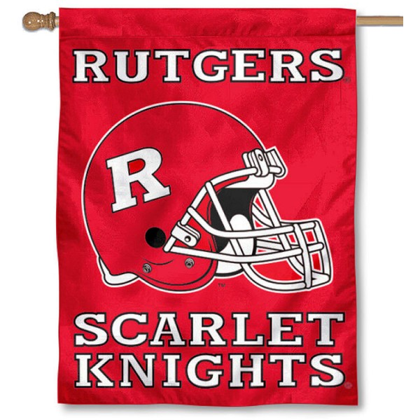 Rutgers University House Flag - Helmet is a vertical house flag which measures 30x40 inches, is made of 2 ply 100% polyester, offers dye sublimated NCAA team insignias, and has a top pole sleeve to hang vertically. Our Rutgers University House Flag - Helmet is officially licensed by the selected university and the NCAA