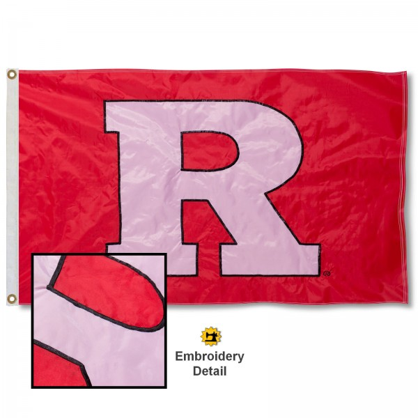 Rutgers University Nylon Embroidered Flag measures 3'x5', is made of 100% nylon, has quadruple flyends, two metal grommets, and has double sided appliqued and embroidered University logos. These Rutgers University 3x5 Flags are officially licensed by the selected university and the NCAA.