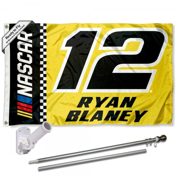 Our Ryan Blaney Flag Pole and Bracket Mount Kit includes the flag as shown and the recommended flagpole and flag bracket. The flag is made of polyester, has quad-stitched flyends, and the NASCAR Licensed driver logos are double sided screen printed. The flagPole and Bracket Mount are made of rust proof aluminum and includes all hardware so this kit is ready to install and fly.