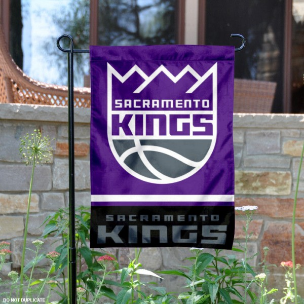 Sacramento Kings Garden Flag is 12.5x18 inches in size, is made of 2-ply polyester, and has two sided screen printed logos and lettering. Available with Express Next Day Shipping, our Sacramento Kings Garden Flag is NBA Genuine Merchandise and is double sided.