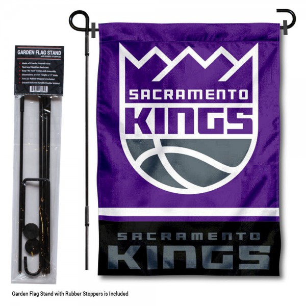 "Sacramento Kings Garden Flag and Flagpole Stand kit includes our 12.5""x18"" garden banner which is made of 2 ply poly with liner and has screen printed licensed logos. Also, a 40""x17"" inch garden flag stand is included so your Sacramento Kings Garden Flag and Flagpole Stand is ready to be displayed with no tools needed for setup. Fast Overnight Shipping is offered and the flag is Officially Licensed and Approved by the selected team."