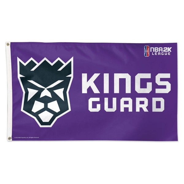 Sacramento Kings Kings Guard NBA2K Gaming Flag measures 3x5 feet and offers 4 stitched flyends for durability. Sacramento Kings Kings Guard NBA2K Gaming Flag is made of 1-ply polyester, has two metal grommets, and is viewable from both sides with the opposite side being a reverse image. This Sacramento Kings Kings Guard NBA2K Gaming Flag is Officially Approved by the Sacramento Kings and the NBA.