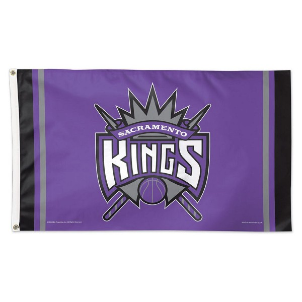 Sacramento Kings NBA Flag measures 3x5 feet and offers 4 stitched flyends for durability. Sacramento Kings NBA Flag is made of polyester, has two metal grommets, and is viewable from both sides with the opposite side being a reverse image. This Sacramento Kings NBA Flag is Officially Approved by the Sacramento Kings and the NBA.