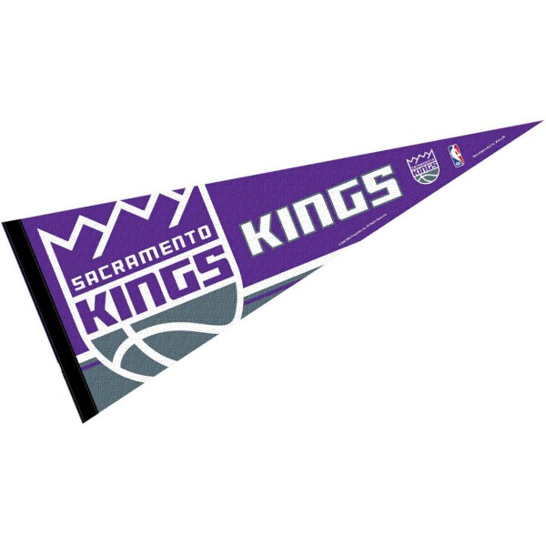This Sacramento Kings Pennant measures 12x30 inches, is constructed of felt, and is single sided screen printed with the Sacramento Kings logo and insignia. Each Sacramento Kings Pennant is a NBA Officially Licensed product.