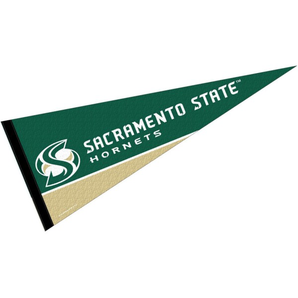 Sacramento State Hornets Decorations consists of our full size pennant which measures 12x30 inches, is constructed of felt, single sided imprinted, and offers a pennant sleeve for insertion of a pennant stick, if desired. These Sacramento State Hornets Decorations are Officially Licensed by the selected University and the NCAA.
