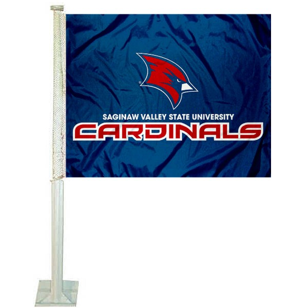 Saginaw Valley State Cardinals Logo Car Flag measures 12x15 inches, is constructed of sturdy 2 ply polyester, and has screen printed school logos which are readable and viewable correctly on both sides. Saginaw Valley State Cardinals Logo Car Flag is officially licensed by the NCAA and selected university.