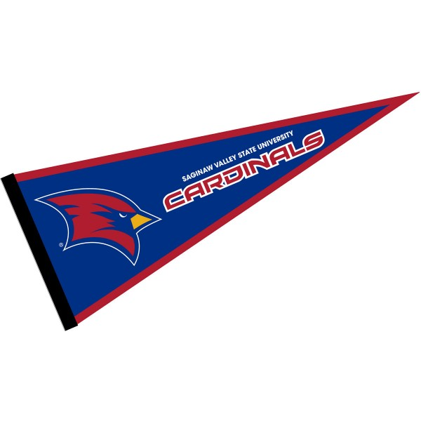 Saginaw Valley State Cardinals Pennant consists of our full size sports pennant which measures 12x30 inches, is constructed of felt, is single sided imprinted, and offers a pennant sleeve for insertion of a pennant stick, if desired. This Saginaw Valley State Cardinals Pennant Decorations is Officially Licensed by the selected university and the NCAA.
