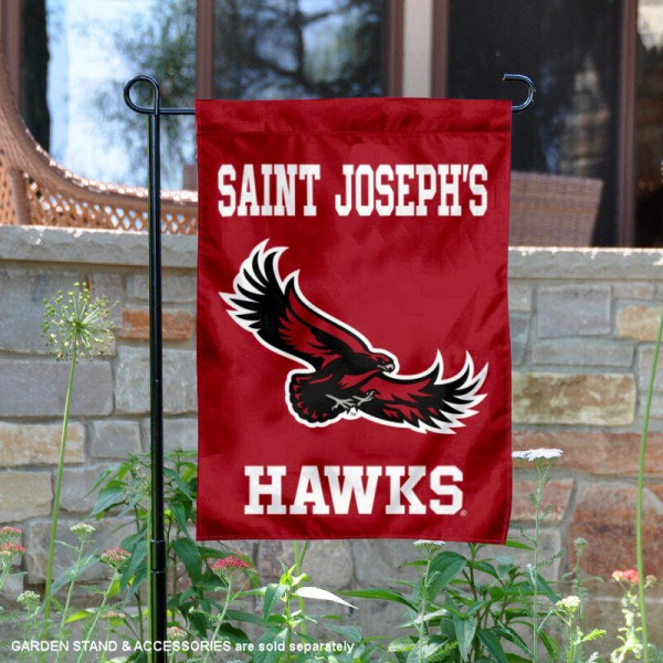 Saint Joseph's Hawks Wordmark Logo Garden Flag is 13x18 inches in size, is made of 2-layer polyester, screen printed university athletic logos and lettering, and is readable and viewable correctly on both sides. Available same day shipping, our Saint Joseph's Hawks Wordmark Logo Garden Flag is officially licensed and approved by the university and the NCAA.