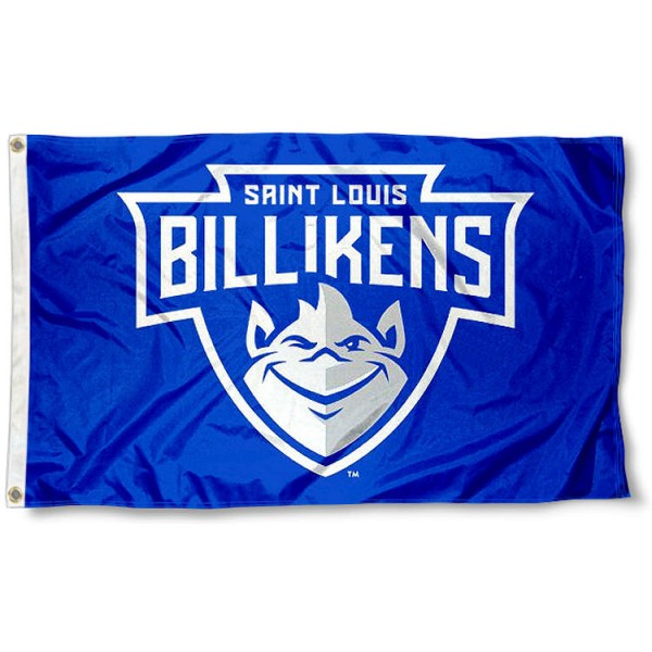 Saint Louis Billikens New Logo Flag measures 3x5 feet, is made of 100% polyester, offers quadruple stitched flyends, has two metal grommets, and offers screen printed NCAA team logos and insignias. Our Saint Louis Billikens New Logo Flag is officially licensed by the selected university and NCAA.