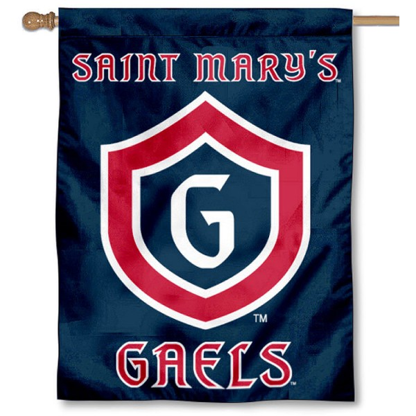 Saint Mary's College House Flag is a vertical house flag which measures 30x40 inches, is made of 2 ply 100% polyester, offers dye sublimated NCAA team insignias, and has a top pole sleeve to hang vertically. Our Saint Mary's College House Flag is officially licensed by the selected university and the NCAA.