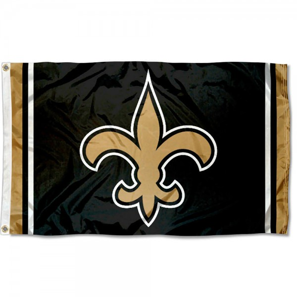 Our Saints Fleur Flag is double sided, made of poly, 3'x5', has two grommets, and four-stitched fly ends. These Saints Fleur Flags are Officially Licensed by the NFL.