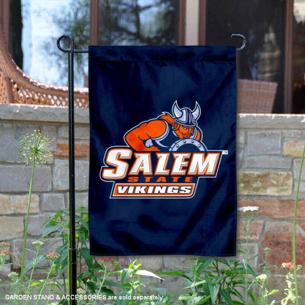 Salem State Vikings Double Sided Garden Flag is 13x18 inches in size, is made of 2-layer polyester, screen printed university athletic logos and lettering, and is readable and viewable correctly on both sides. Available with same day shipping, our Salem State Vikings Double Sided Garden Flag is officially licensed and team approved by the university and the NCAA.