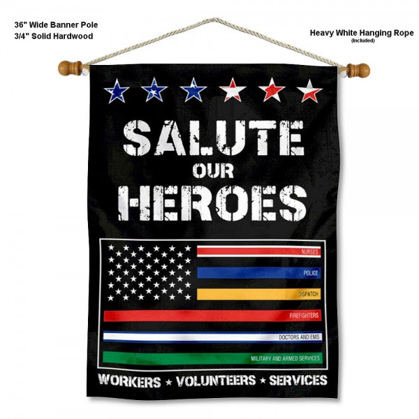 "Salute Our Essential Workers Wall Banner is constructed of polyester material, measures a large 28""x40"", offers screen printed athletic logos, and includes a sturdy 3/4"" diameter and 36"" wide banner pole and hanging cord. Our Salute Our Essential Workers Wall Banner is Officially Licensed."