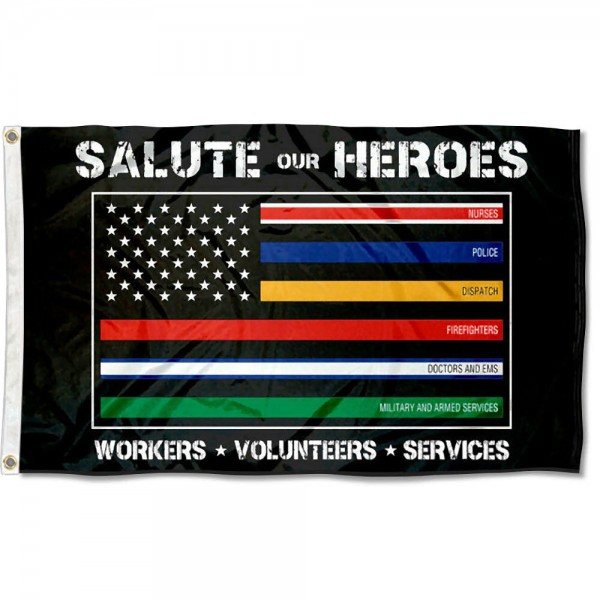 Salute Our Heroes Flag measures 3'x5', is made of 100% poly, has quadruple stitched sewing, two metal grommets, and has double sided Salute Our Heroes logos.