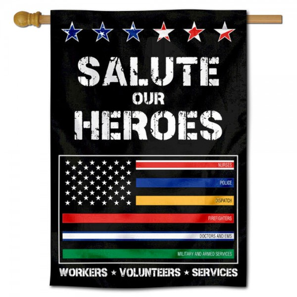 Salute Workers Services Thin Line Banner Flag is 28x40 inches in size, is made of 1-layer 150d polyester, screen printed logos and lettering, and is viewable on both sides. Available same day shipping, our Salute Workers Services Thin Line Banner Flag is a great addition to your decorative Banner Flag selections.