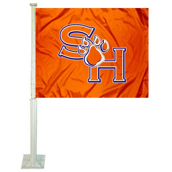 Sam Houston State Car Window Flag measures 12x15 inches, is constructed of sturdy 2 ply polyester, and has dye sublimated school logos which are readable and viewable correctly on both sides. Sam Houston State Car Window Flag is officially licensed by the NCAA and selected university.