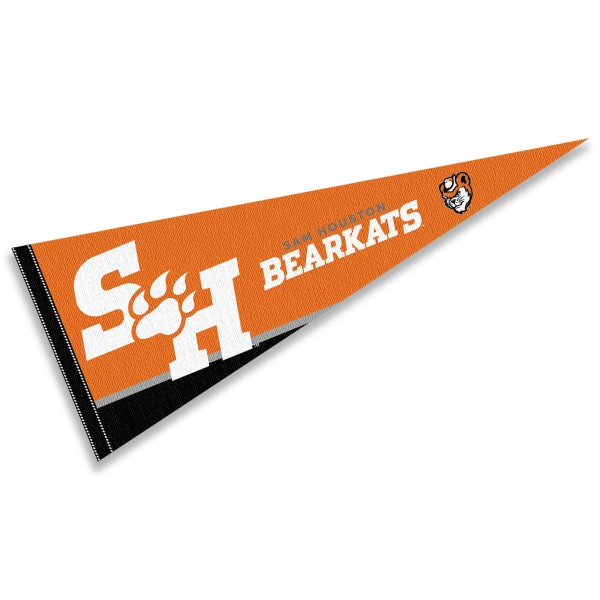 Sam Houston State Decorations consists of our full size pennant which measures 12x30 inches, is constructed of felt, is single sided imprinted, and offers a pennant sleeve for insertion of a pennant stick, if desired. This Sam Houston State Decorations is officially licensed by the selected university and the NCAA.