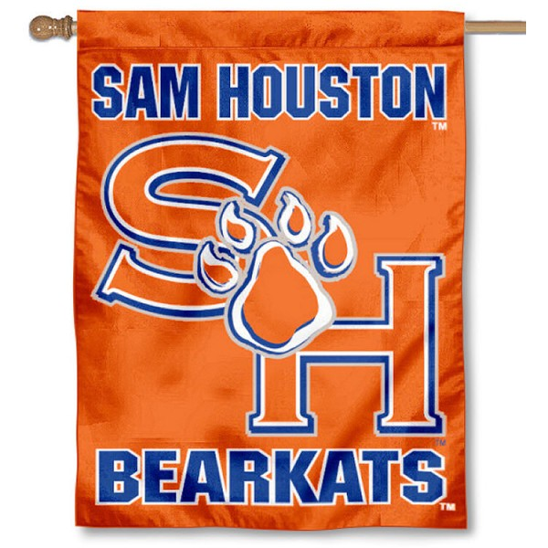 Sam Houston State University House Flag is a vertical house flag which measures 30x40 inches, is made of 2 ply 100% polyester, offers screen printed NCAA team insignias, and has a top pole sleeve to hang vertically. Our Sam Houston State University House Flag is officially licensed by the selected university and the NCAA.