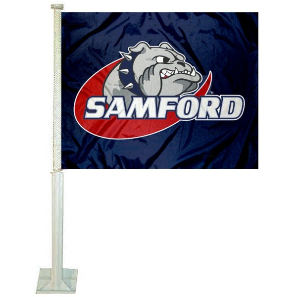 Samford Bulldogs Car Window Flag measures 12x15 inches, is constructed of sturdy 2 ply polyester, and has dye sublimated school logos which are readable and viewable correctly on both sides. Samford Bulldogs Car Window Flag is officially licensed by the NCAA and selected university.