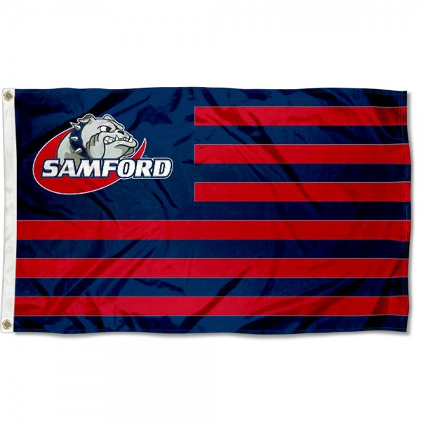 Samford Bulldogs Stripes Flag measures 3'x5', is made of polyester, offers double stitched flyends for durability, has two metal grommets, and is viewable from both sides with a reverse image on the opposite side. Our Samford Bulldogs Stripes Flag is officially licensed by the selected school university and the NCAA.