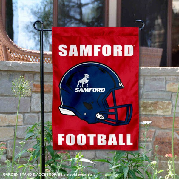 Samford Helmet Yard Garden Flag is 13x18 inches in size, is made of 2-layer polyester with Liner, screen printed university athletic logos and lettering, and is readable and viewable correctly on both sides. Available same day shipping, our Samford Helmet Yard Garden Flag is officially licensed and approved by the university and the NCAA.
