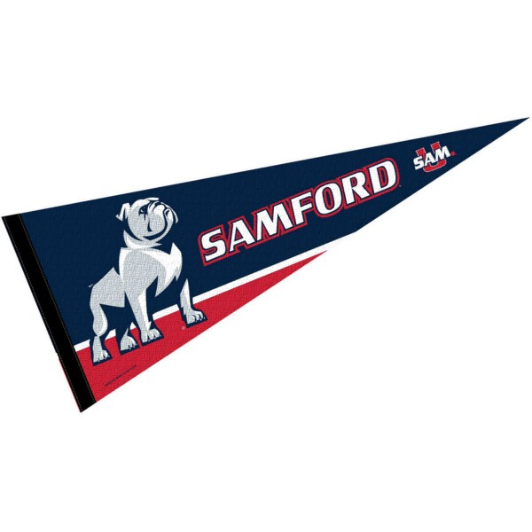 Samford Pennant consists of our full size sports pennant which measures 12x30 inches, is constructed of felt, is single sided imprinted, and offers a pennant sleeve for insertion of a pennant stick, if desired. This Samford University Felt Pennant is officially licensed by the selected university and the NCAA.