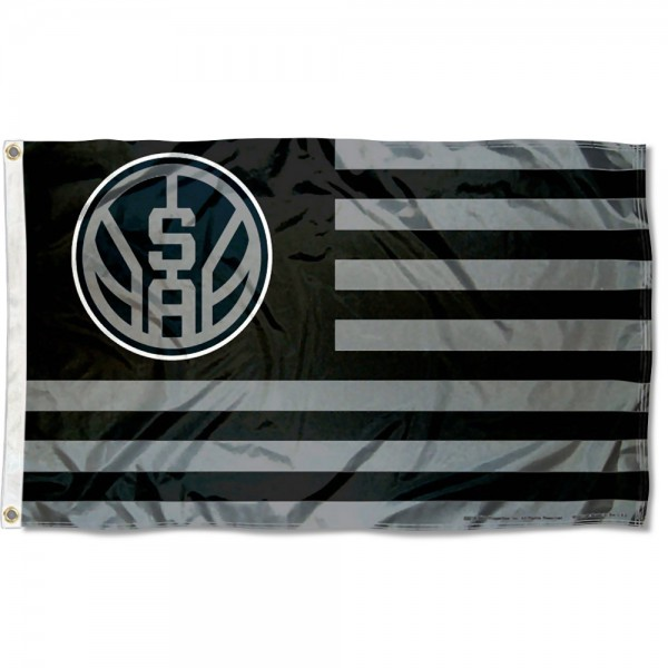 San Antonio Spurs Americana Stripes Nation Flag measures 3x5 feet, is made of polyester, offers quad-stitched flyends, has two metal grommets, and is viewable from both sides with a reverse image on the opposite side. Our San Antonio Spurs Americana Stripes Nation Flag is Genuine NBA Merchandise.