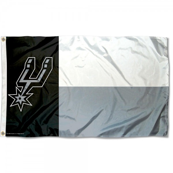 The San Antonio Spurs State of Texas 3x5 Flag is four-stitched bordered, double sided, made of poly, 3'x5', and has two grommets. These San Antonio Spurs State of Texas 3x5 Flags are NBA Genuine Merchandise.