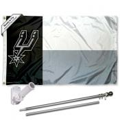 San Antonio Spurs Texas State Flag Pole and Bracket Kit