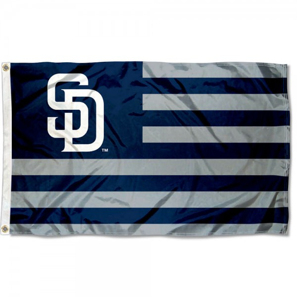 San Diego Padres Americana Nation Flag measures 3x5 feet, is made of polyester, offers quad-stitched flyends, has two metal grommets, and is viewable from both sides with a reverse image on the opposite side. Our San Diego Padres Americana Nation Flag is Genuine MLB Merchandise.