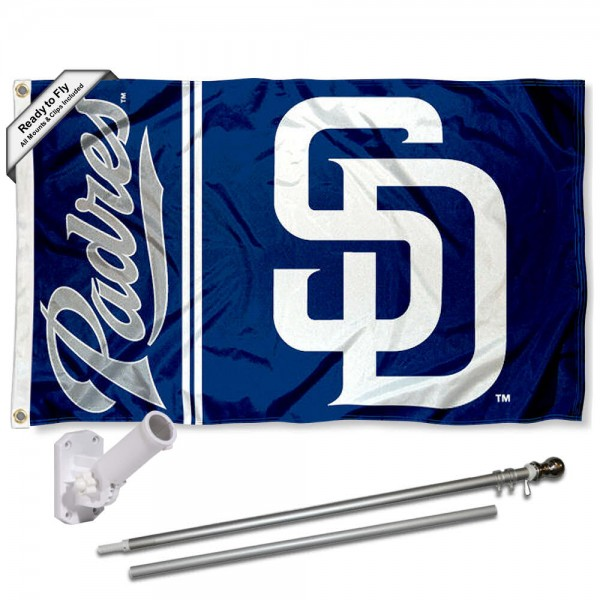 Our San Diego Padres Flag Pole and Bracket Kit includes the flag as shown and the recommended flagpole and flag bracket. The flag is made of polyester, has quad-stitched flyends, and the MLB Licensed team logos are double sided screen printed. The flagpole and bracket are made of rust proof aluminum and includes all hardware so this kit is ready to install and fly.