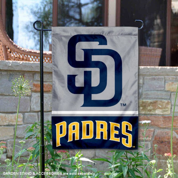 San Diego Padres Garden Flag is 12.5x18 inches in size, is made of 2-ply polyester, and has two sided screen printed logos and lettering. Available with Express Next Day Shipping, our San Diego Padres Garden Flag is MLB Genuine Merchandise and is double sided.