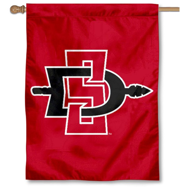 San Diego State Aztecs Banner Flag is a vertical house flag which measures 30x40 inches, is made of 2 ply 100% polyester, offers screen printed NCAA team insignias, and has a top pole sleeve to hang vertically. Our San Diego State Aztecs Banner Flag is officially licensed by the selected university and the NCAA.
