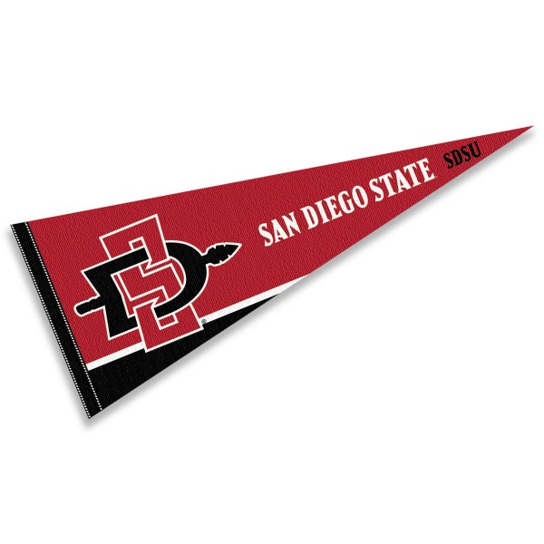 San Diego State Aztecs Decorations consists of our full size pennant which measures 12x30 inches, is constructed of felt, is single sided imprinted, and offers a pennant sleeve for insertion of a pennant stick, if desired. This San Diego State Aztecs Decorations is officially licensed by the selected university and the NCAA