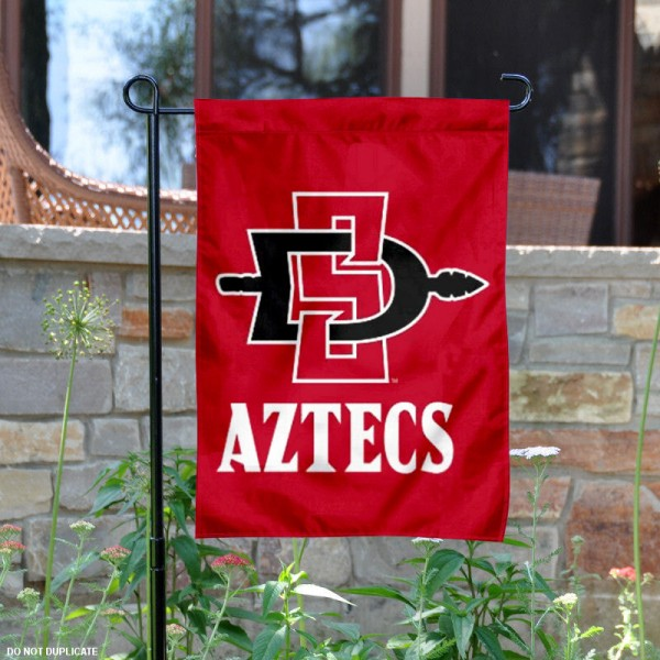 San Diego State Aztecs Garden Flag is 13x18 inches in size, is made of 2-layer polyester, screen printed San Diego State University athletic logos and lettering. Available with Same Day Express Shipping, Our San Diego State Aztecs Garden Flag is officially licensed and approved by San Diego State University and the NCAA.