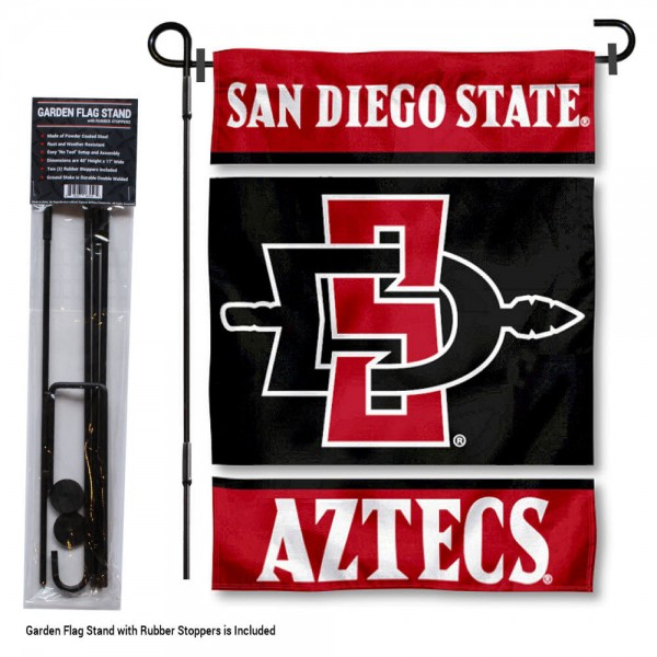 "San Diego State Aztecs Garden Flag and Stand kit includes our 13""x18"" garden banner which is made of 2 ply poly with liner and has screen printed licensed logos. Also, a 40""x17"" inch garden flag stand is included so your San Diego State Aztecs Garden Flag and Stand is ready to be displayed with no tools needed for setup. Fast Overnight Shipping is offered and the flag is Officially Licensed and Approved by the selected team."
