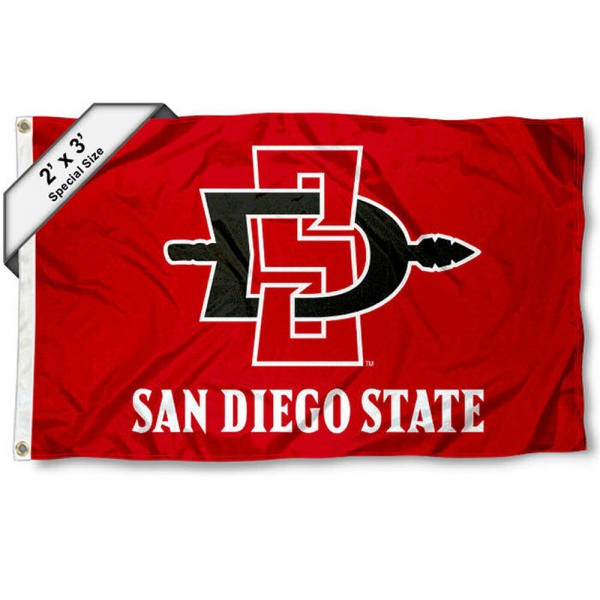 San Diego State Aztecs Small 2'x3' Flag measures 2x3 feet, is made of 100% polyester, offers quadruple stitched flyends, has two brass grommets, and offers printed San Diego State Aztecs logos, letters, and insignias. Our 2x3 foot flag is Officially Licensed by the selected university.
