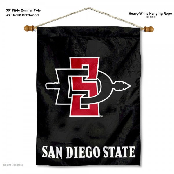 "San Diego State Aztecs Wall Banner is constructed of polyester material, measures a large 30""x40"", offers screen printed athletic logos, and includes a sturdy 3/4"" diameter and 36"" wide banner pole and hanging cord. Our San Diego State Aztecs Wall Banner is Officially Licensed by the selected college and NCAA."